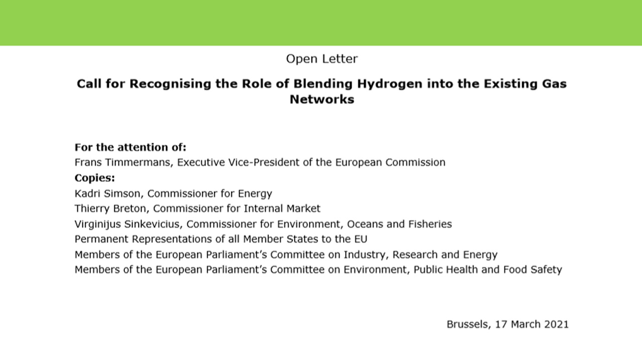 GD4S calls on the European Commission to recognize the role of blending hydrogen into the existing gas networks