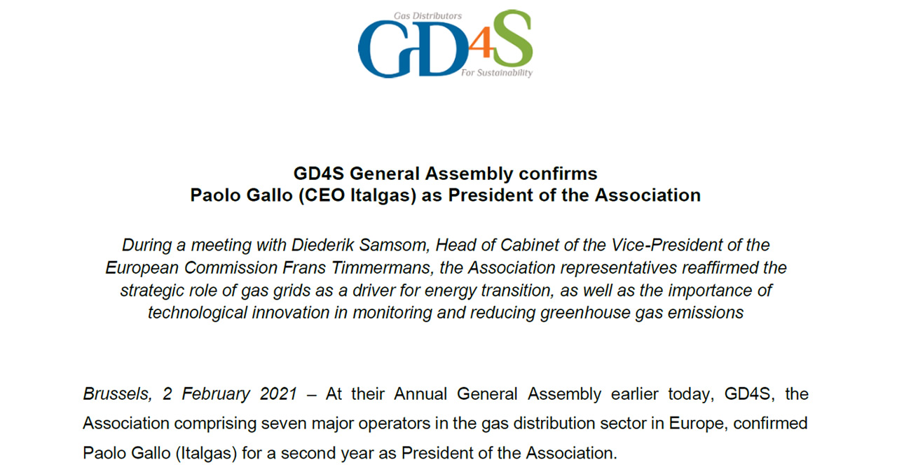 GD4S General Assembly confirms Paolo Gallo (CEO Italgas) as President of the Association