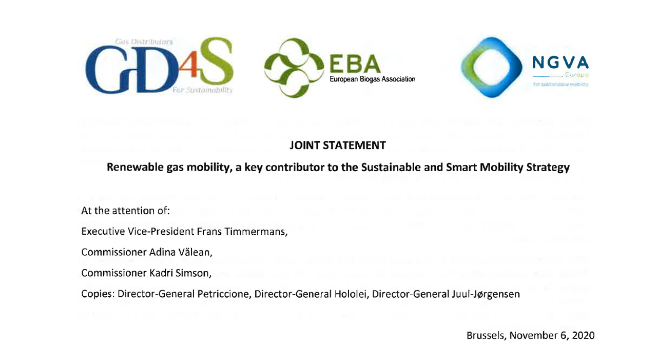 GD4S, EBA and NGVA Europe call on the European Commission to recognise renewable gas as a key contributor of the upcoming Mobility Strategy